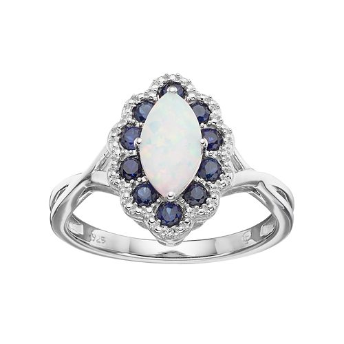 Sterling Silver Lab-Created Opal & Lab-Created Sapphire Marquise Ring