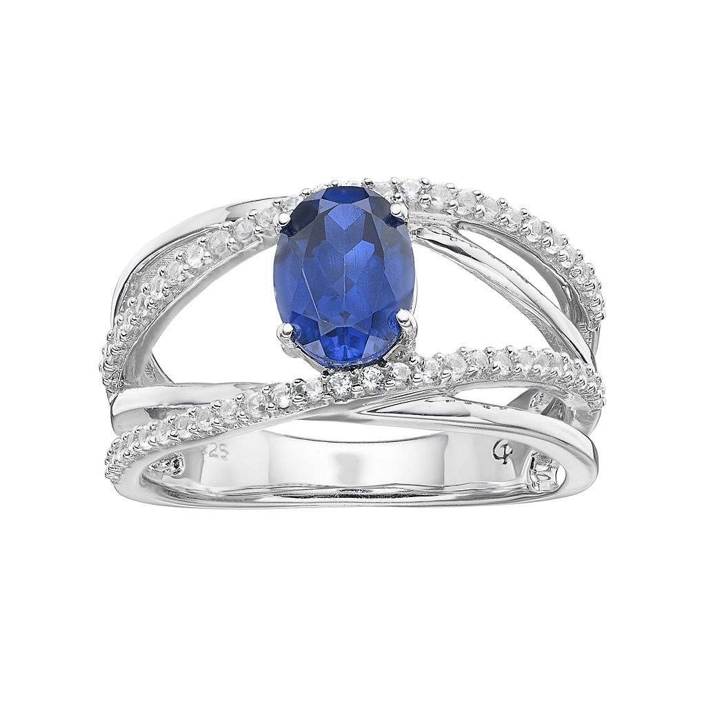 Sterling Silver Lab-Created Blue & White Sapphire Crisscross Ring