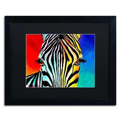 Trademark Fine Art Zebra Black Framed Wall Art