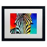 Trademark Fine Art Zebra Black Framed Wall Art