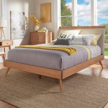 HomeVance Skagen Mixed-Media Natural Finish Upholstered Platform Bed