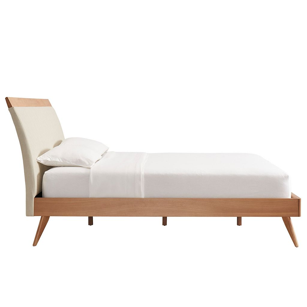 HomeVance Skagen Mixed-Media Natural Finish Upholstered Platform Bed
