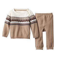 Baby Boy Cuddl Duds Fairisle Sweater & Pants Set