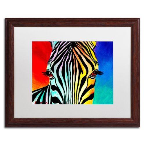 Trademark Fine Art Zebra Framed Wall Art