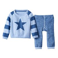 Baby Boy Cuddl Duds Star Sweater & Striped Pants Set