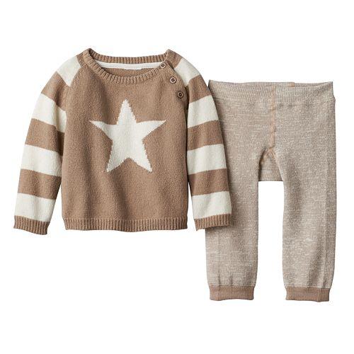 Baby Boy Cuddl Duds Star Sweater & Striped Pants Set