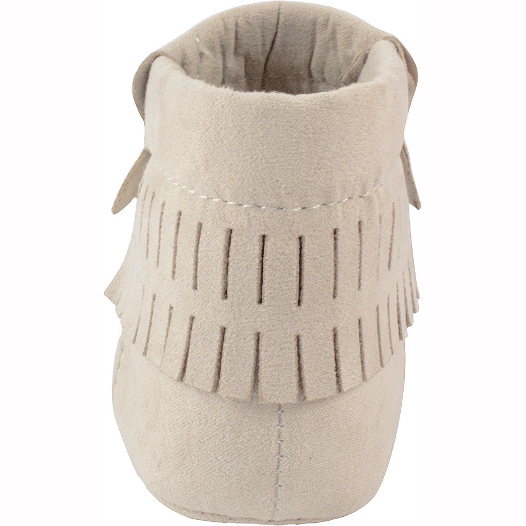 Baby Wee Kids Faux-Suede Fringe Moccasin Crib Shoes