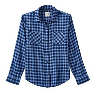 Girls 7-16 & Plus Size Mudd® Side-Split Flannel Button-Down Shirt