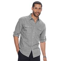 Men's Apt. 9® Modern-Fit Crosshatch Roll-Tab Button-Down Shirt