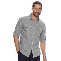 Men's Apt. 9® Modern-Fit Crosshatch Roll-Tab Button-Down Shirt