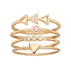 LC Lauren Conrad Cubic Zirconia Triangle & Circle Stackable Ring Set