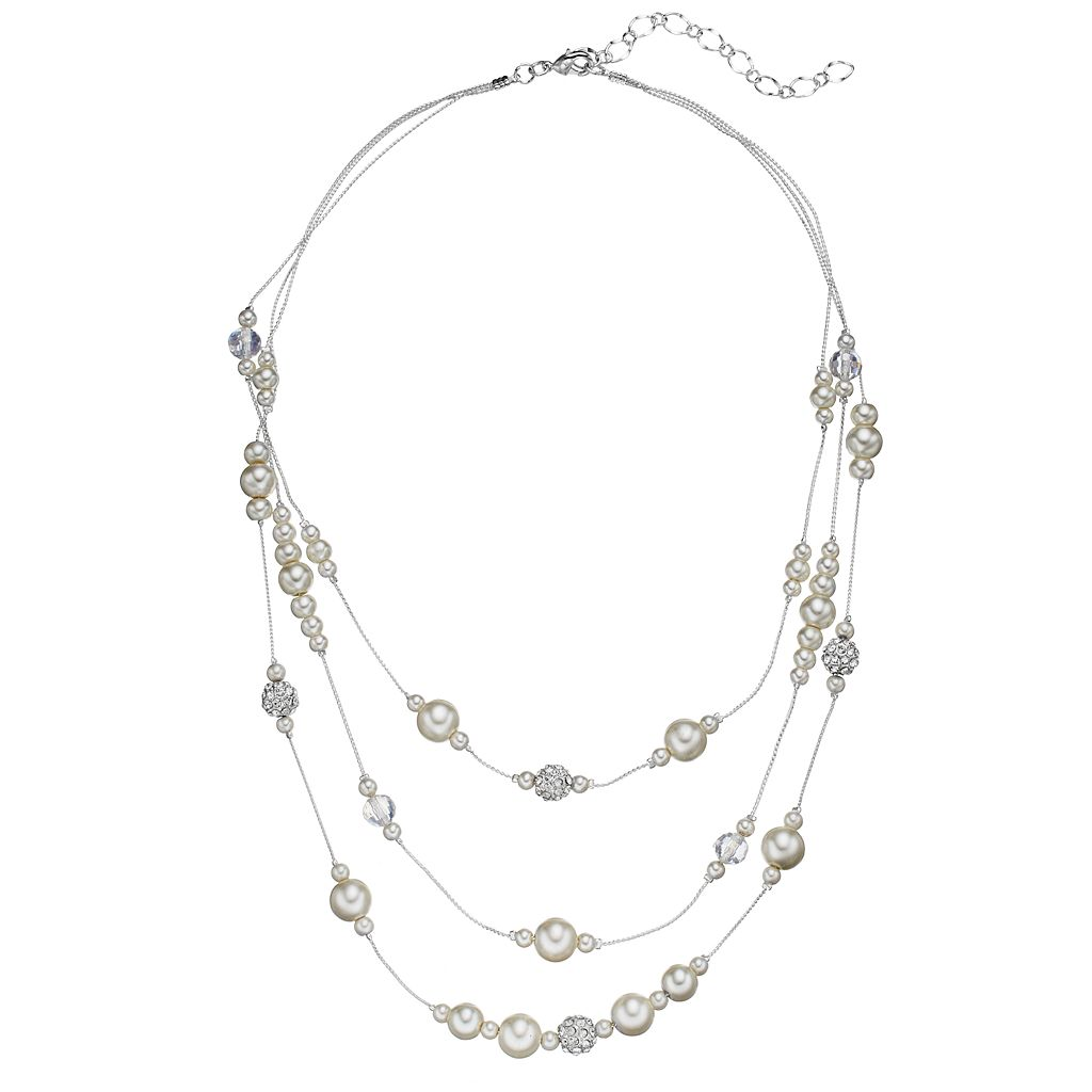 Simulated Pearl Layered Station Necklace