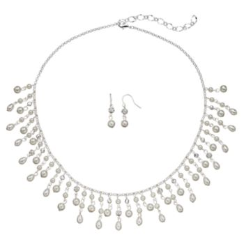Simulated Pearl Fringe Statement Necklace & Drop Earring Set