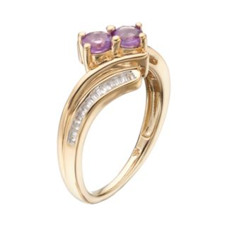 14k Gold Over Silver Amethyst & Lab-Created White Sapphire 2-Stone Ring