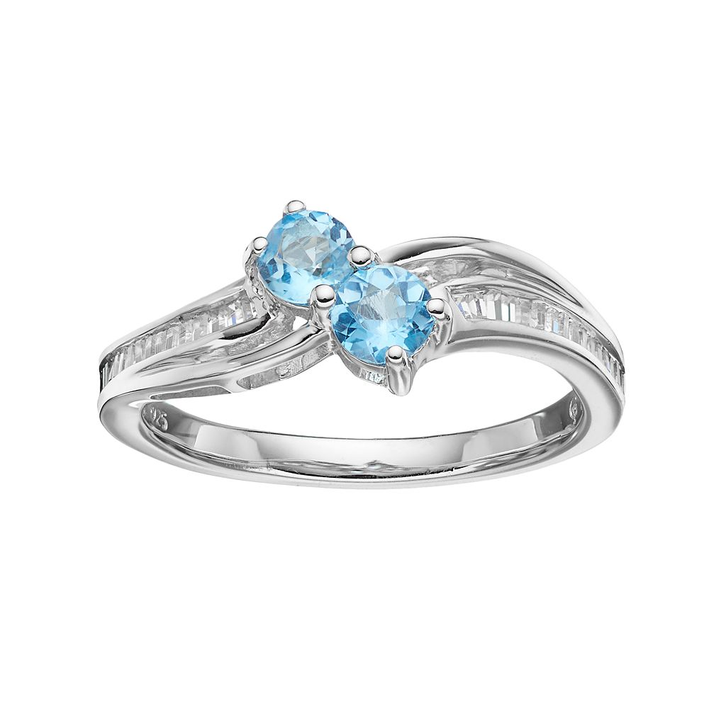 Sterling Silver Blue Topaz & Lab-Created White Sapphire 2-Stone Ring