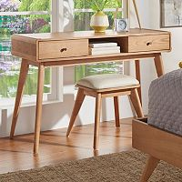 HomeVance Skagen Natural Finish 2-Drawer Vanity & Upholstered Stool 2-piece Set