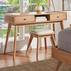 HomeVance Skagen Natural Finish 2-Drawer Vanity & Upholstered Stool 2-piece Set