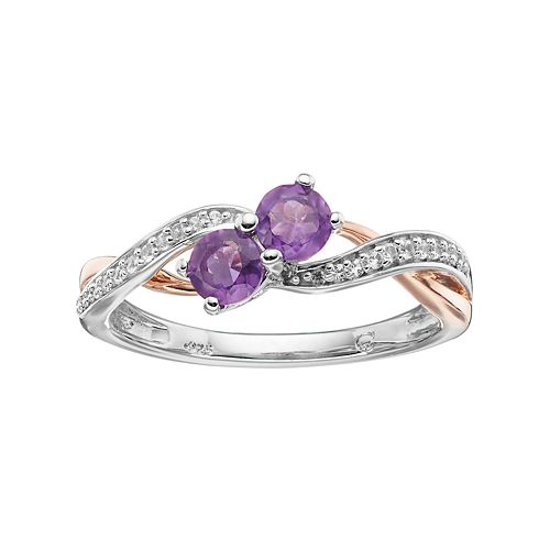 Two Tone Sterling Silver Amethyst & Lab-Created White Sapphire 2-Stone Ring