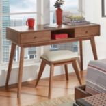 HomeVance Skagen Walnut Finish 2-Drawer Vanity & Upholstered Stool 2-piece Set