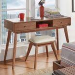 HomeVance Skagen Walnut Finish 2-Drawer Vanity & Upholstered Stool 2-piece Set