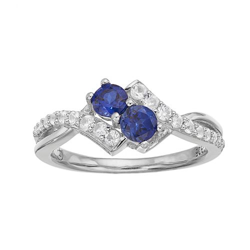 Sterling Silver Lab-Created Blue & White Sapphire 2-Stone Ring