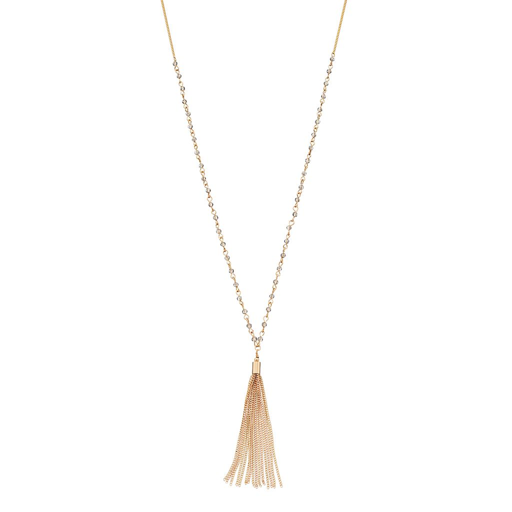 LC Lauren Conrad Long Beaded Two Tone Tassel Necklace