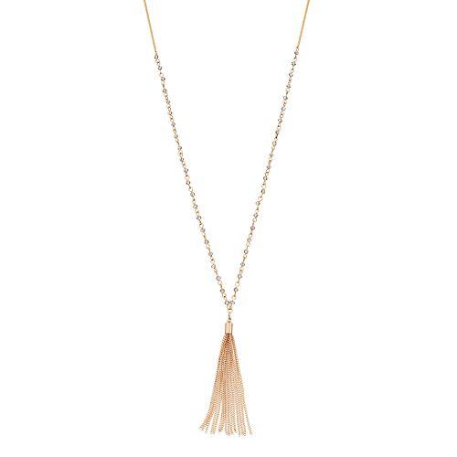 LC Lauren Conrad Long Beaded Two Tone Tassel Necklace