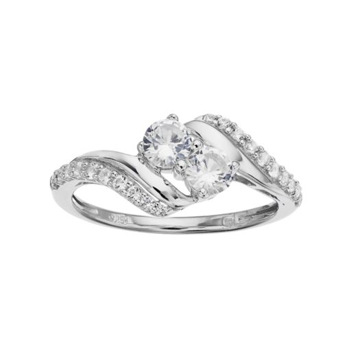 Sterling Silver Lab-Created White Sapphire 2-Stone Ring