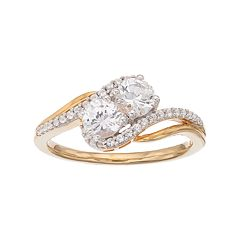 14k Gold Over Silver Lab-Created White Sapphire 2-Stone Ring