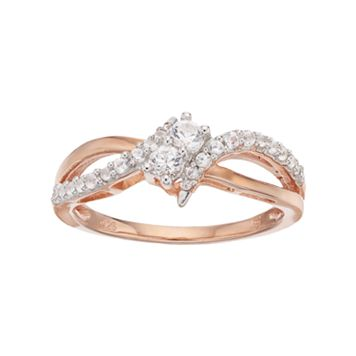 14k Rose Gold Over Silver Lab-Created White Sapphire 2-Stone Ring
