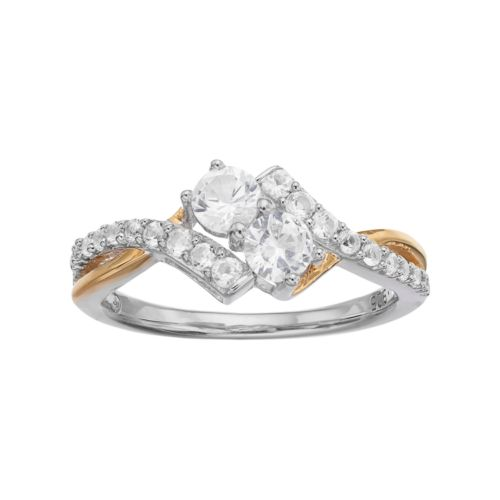 Two Tone Sterling Silver Lab-Created White Sapphire 2-Stone Ring