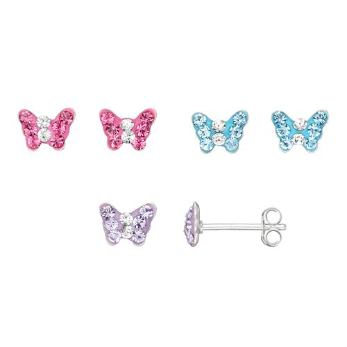 Charming Girl Kids' Sterling Silver Crystal Butterfly Stud Earring Set