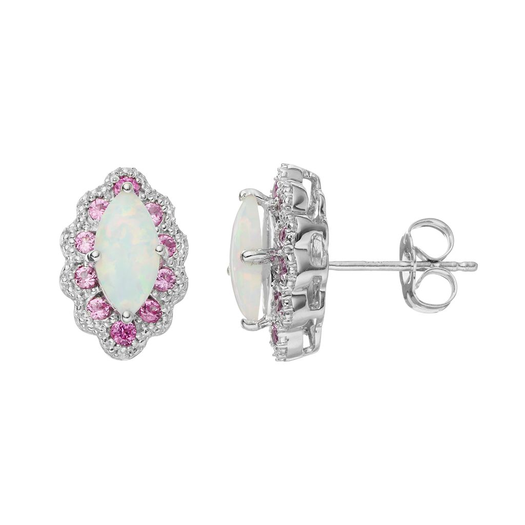 Sterling Silver Lab-Created Opal & Pink Sapphire Marquise Stud Earrings