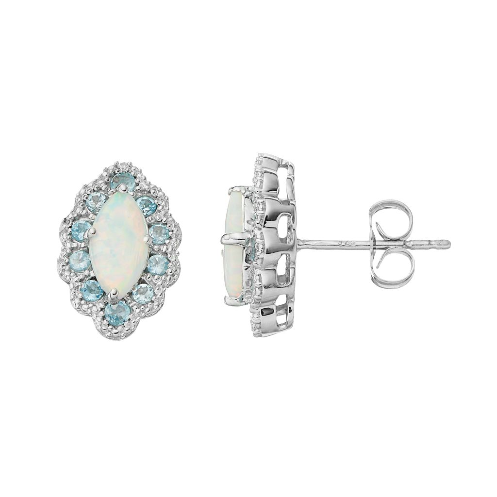 Sterling Silver Lab-Created Opal & Blue Topaz Marquise Stud Earrings