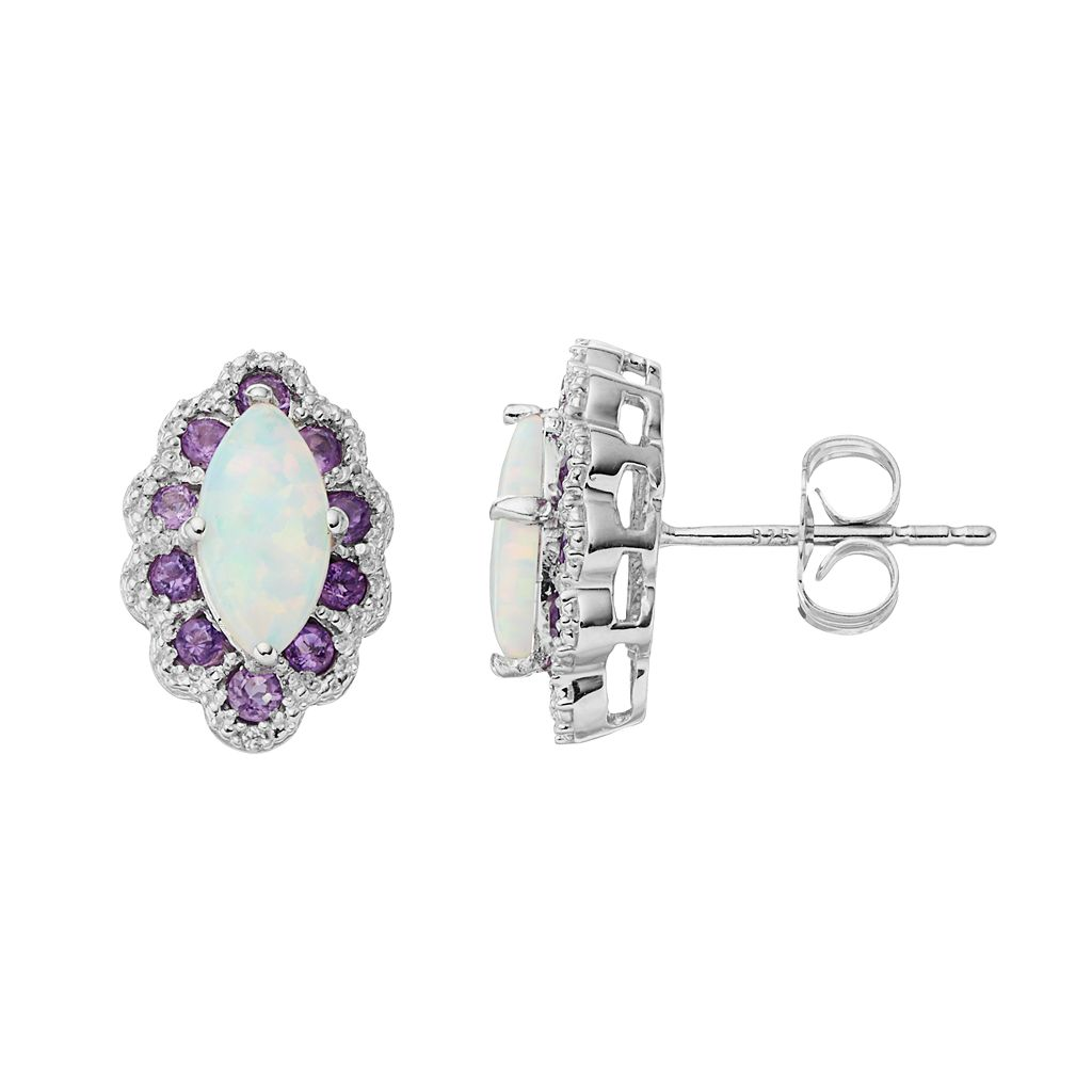 Sterling Silver Lab-Created Opal & Amethyst Marquise Stud Earrings