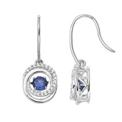 Sterling Silver Lab-Created Blue & White Sapphire Interlocking Circle Drop Earrings