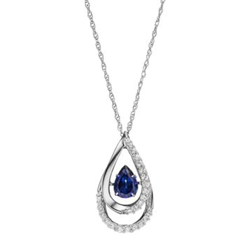 Sterling Silver Lab-Created Blue & White Sapphire Teardrop Pendant