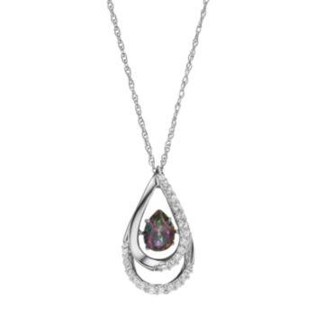 Sterling Silver Mystic Fire Topaz & Lab-Created White Sapphire Teardrop Pendant