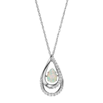 Sterling Silver Lab-Created Opal & White Sapphire Teardrop Pendant