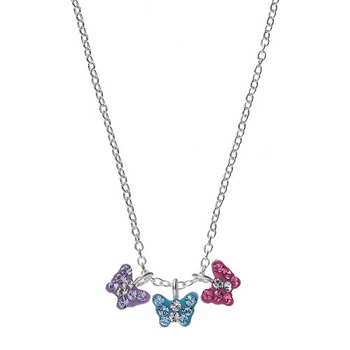 Charming Girl Kids' Sterling Silver Crystal Butterfly Charm Necklace