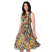 Women's ILE New York Brushstroke Fit & Flare Dress
