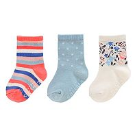 Baby / Toddler Girl Carter's 3 pkStriped, Polka-Dot & Floral Crew Socks