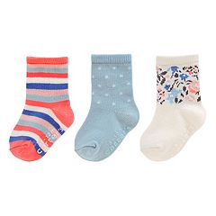 Girls 4-8 Carter's 3 pkStriped, Polka-Dot & Floral Crew Socks