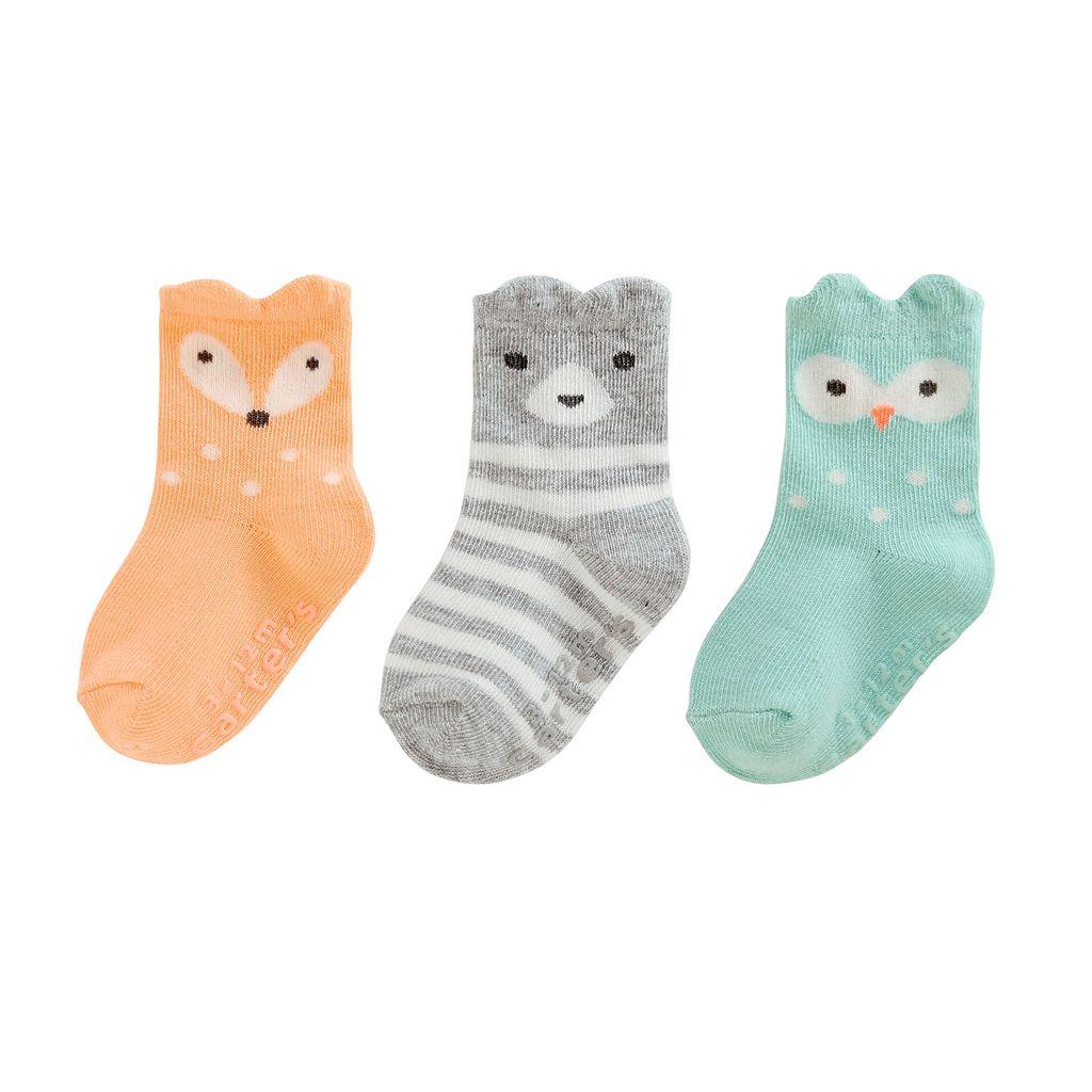 Girls 4-8 Carter's 3-pk. Animal Crew socks