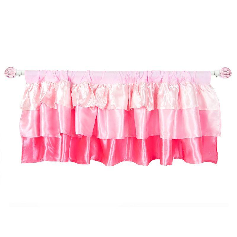 Tadpoles Pink Ruffled Satin Window Valance