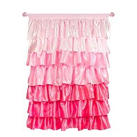 Tadpoles Tiered Ruffled Satin Curtain Panel