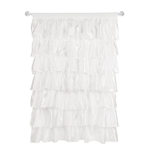 Tadpoles 1-Panel Tiered Ruffled Satin Window Curtain