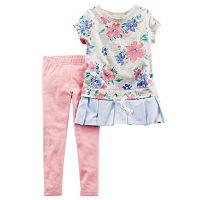 Toddler Girl Carter's Mock-Layered Drop-Waist Floral Top & Leggings Set