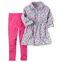 Toddler Girl Carter's Ditsy Floral Woven Top & Solid Leggings Set