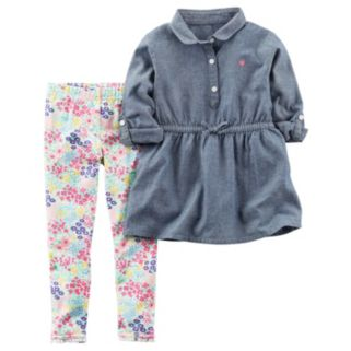 Toddler Girl Carter's Chambray Woven Top & Ditsy Floral Leggings Set